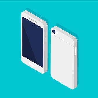 Isometrisches telefon vorder- und rückseite. schwarze leere anzeigevorlage des smartphones. intelligente technologie.