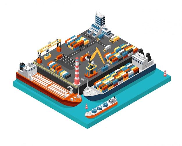 Isometrisches terminal des seehafens 3d mit frachtschiffen, kränen und behältern in der hafenvogelperspektive. schiffsindustrie vektor-illustration