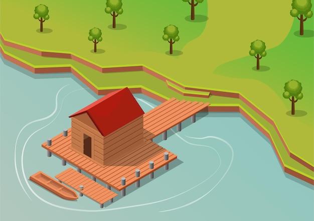 Isometrisches tropisches resort mit boot auf dem wasser