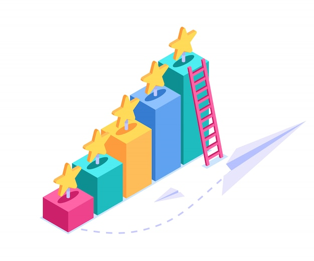Isometrisches überprüfungskonzept. visuelle anzeige einer bewertung. sterne auf dreidimensionalen grafiken