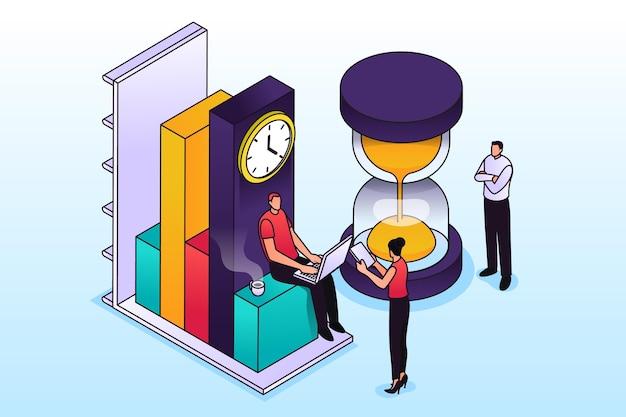 Isometrisches umrisszeitmanagementkonzept Kostenlosen Vektoren