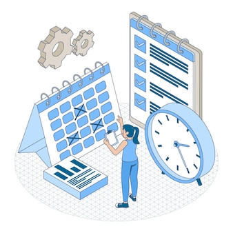 Isometrisches umrisszeitmanagementkonzept