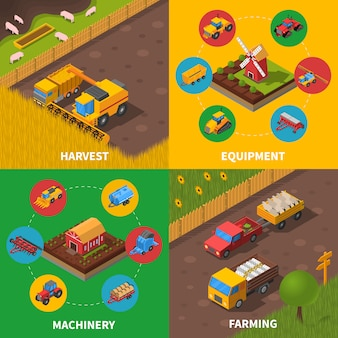 Isometrisches vektorbild der landwirtschaftlichen maschinerie