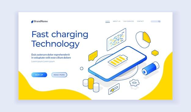 Isometrisches vektordesign der website-titelseite über schnellladetechnologie mit smartphone zum kabellosen laden. isometrisches webbanner, zielseitenvorlage