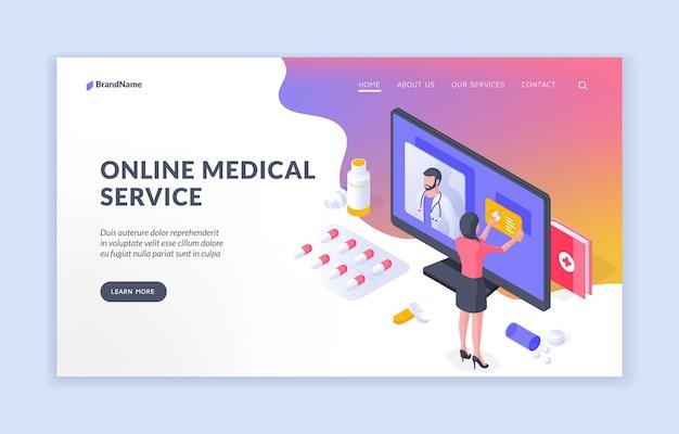Isometrisches vektordesign des online-medizinischen dienstes