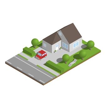Isometrisches vorstadthaus mit garten und auto.
