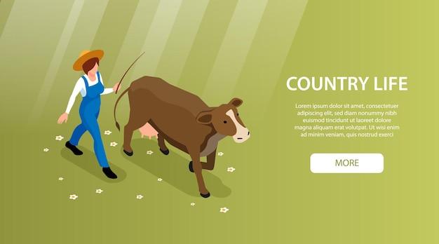 Isometrisches web-banner des viehzuchtlandlebens mit viehzüchter, der milchkuh zum weiden bringt