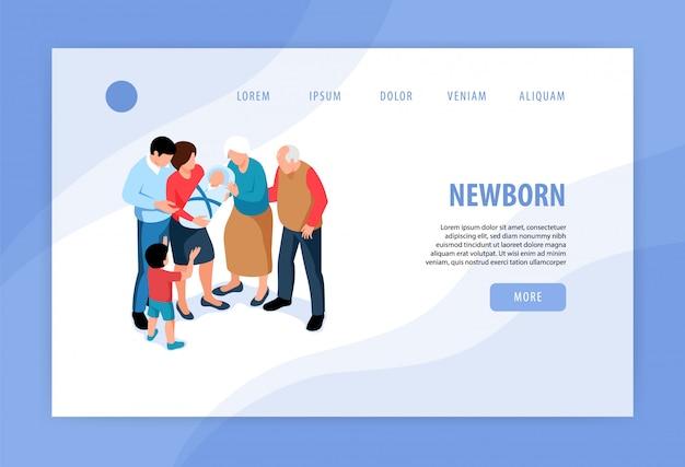 Isometrisches web-banner-design des neuen geschwisterkonzepts der kinderkinder mit der begrüßung des neugeborenen in der familie