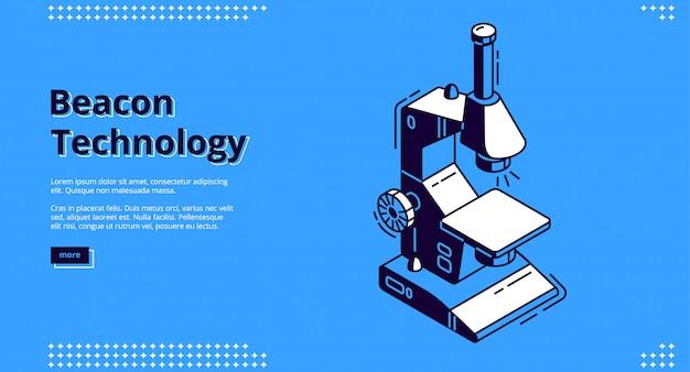 Isometrisches webdesign der beacon-technologie mit mikroskop
