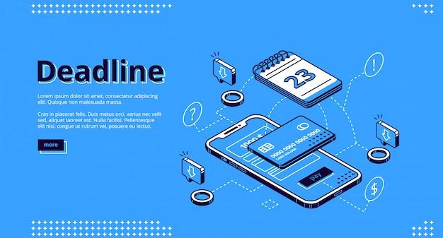 Isometrisches webdesign für deadline-zahlungstechnologie