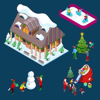 Isometrisches weihnachtsdekoriertes haus mit weihnachtsbaum, weihnachtsmann, kindern und schneemann. illustration