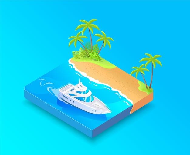 Isometrisches weißes boot und tropische inselpalmenvektorillustration