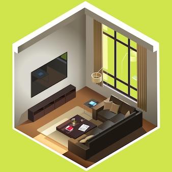 Isometrisches wohnzimmer. das zimmer verfügt über ein sofa, einen couchtisch, einen fernseher und andere möbel. cutaway interieur realistische 3d