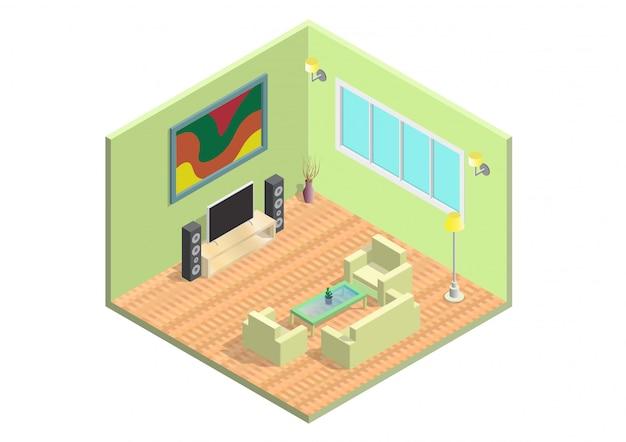 Isometrisches wohnzimmer symbol.