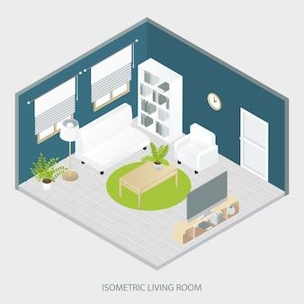 Isometrisches wohnzimmer