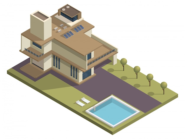Isometrisches wolkenkratzergebäude mit swimmingpool und gartenhof.