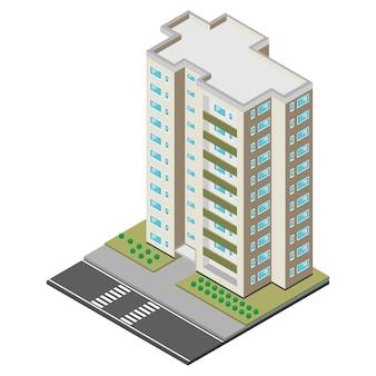 Isometrisches wolkenkratzergebäude.