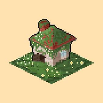 Isometrisches würfelhaus der pixelkunst mit grüner pflanzenabdeckung