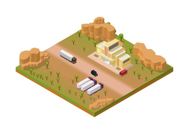 Isometrisches wüstengebiet mit lkw- und lagergebäude