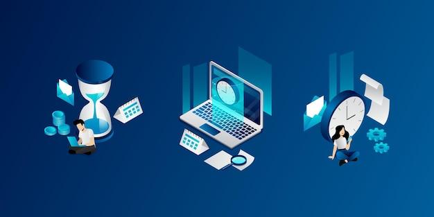 Isometrisches zeitmanagement, organisationskonzept. reihe von geschäftssymbolen und personen, die ihre arbeitszeit planen, ihre arbeit pünktlich erledigen und kalenderfristen einhalten. webseiten-vektor-illustration.