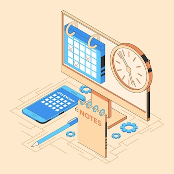 Isometrisches zeitmanagementkonzept Premium Vektoren