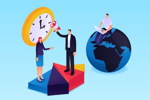 Isometrisches zeitmanagementkonzept Kostenlosen Vektoren