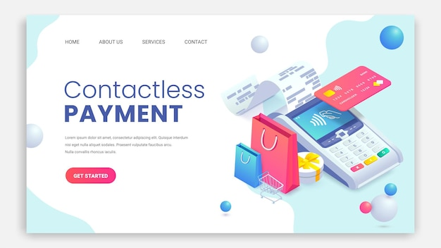Isometrisches zielseitenkonzept für das einkaufen im internet. kontaktloses bezahlen nfc-zahlungsterminal.