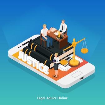 Isometrisches zusammensetzungskonzept der rechtsjustizikonen mit telefon- und gerechtigkeitssymbolen auf seiner bildschirmvektorillustration