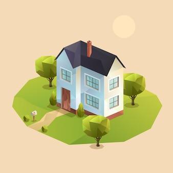 Isometrisches zweistöckiges familienhaus
