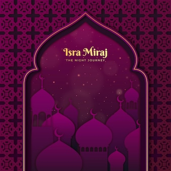 Isra miraj illustration im papierstil mit mond