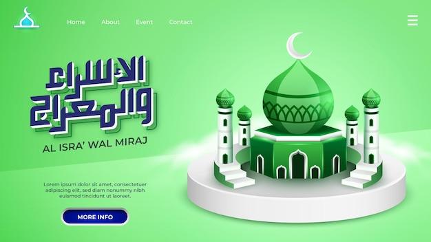 Isra miraj landing page mit grünem moschee-thema