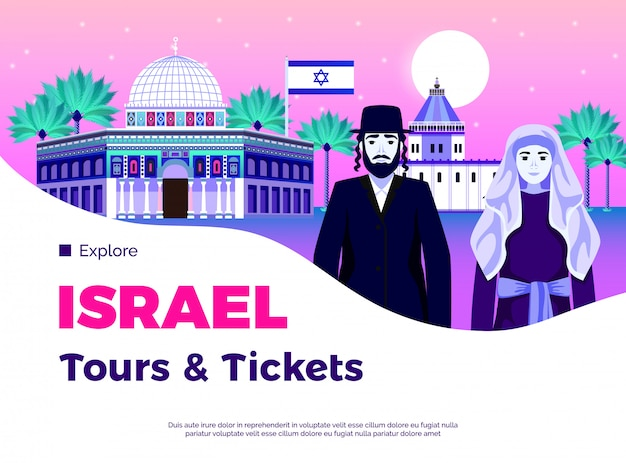 Israel-reisehintergrund mit flacher illustration der führungs- und kartensymbole