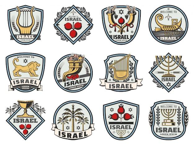 Israelische symbole, jüdische religiöse und jüdische zeichen