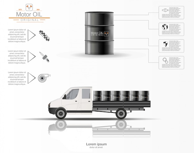 Ist das motoröl. infografiken von motoröl. dreidimensionales modell des lastwagens auf weißem hintergrund. volumenkapazität für öl. bild.