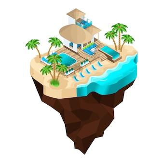 Ist ein luxusurlaub auf einer fabelhaften insel, ein wunderschöner moderner bungalow für den empfang der gäste. sommerferien auf den malediven