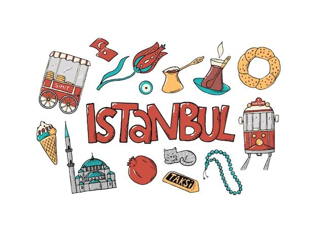 Istanbul-schriftzug-zitat mit kritzeleien verziert