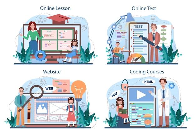 It-bildungs-online-dienst oder -plattform-set. schüler lernen programmieren