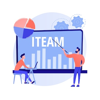 It-management-mentoring. workflow-optimierung, unternehmensleistungsstatistiken, digitale datenanalyse. mentorin, die computerkenntnisse des top-managers lehrt.