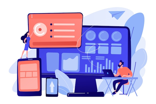 It-manager integrieren technologien in den geschäftsbetrieb. unternehmens-it-management, it-softwarelösungen, illustration des unternehmensarchitekturkonzepts