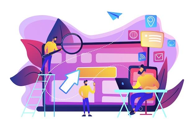 It-spezialist identifiziert benutzer auf mobilgeräten, laptops und tablets. geräteübergreifende verfolgung und fähigkeit, geräteübergreifendes konzept unter verwendung auf weißem hintergrund. helle lebendige violette isolierte illustration