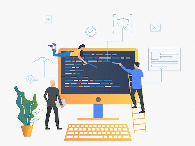 It-spezialisten, die die betriebssystemillustration aktualisieren