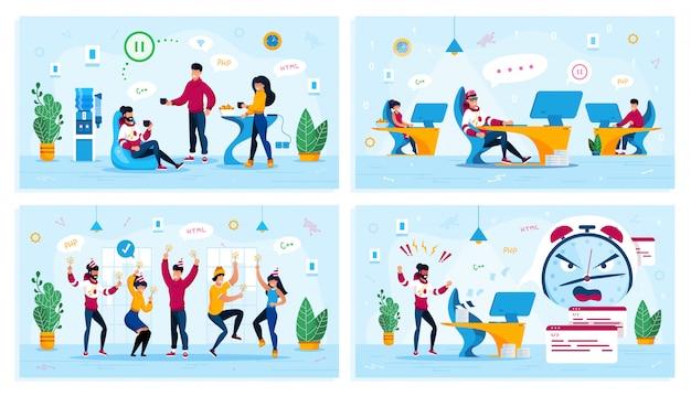 It-unternehmen büroarbeitssituationen flat set