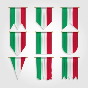 Italien flagge in verschiedenen formen