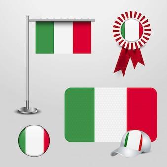 Italien-flagge mit kreativem designvektor