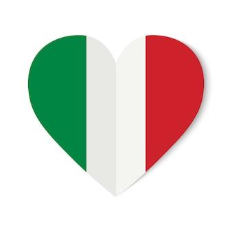 Italien-flagge mit origamiart auf herzen