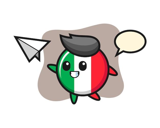 Italien-flaggenabzeichen-cartoonfigur, die papierflugzeug, niedlichen stil, aufkleber, logoelement wirft