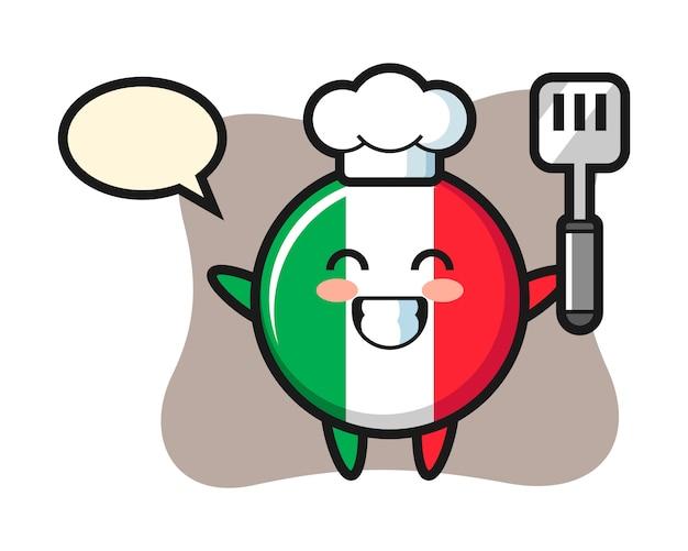 Italien-flaggenabzeichen-charakterillustration als ein koch kocht, niedlicher stil, aufkleber, logoelement