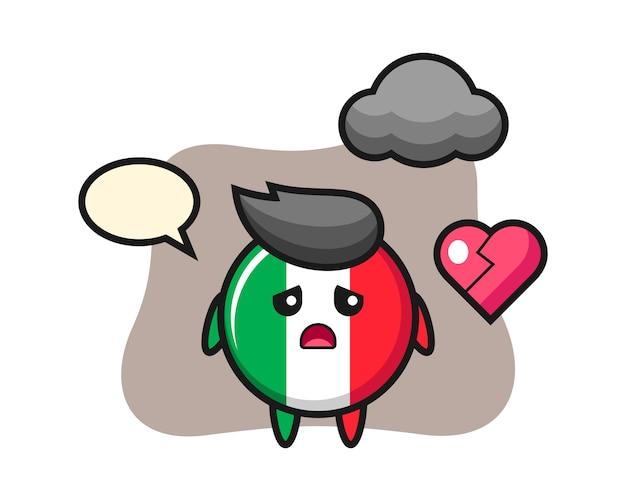 Italien-flaggenabzeichen-karikaturillustration ist gebrochenes herz, niedlicher stil, aufkleber, logoelement