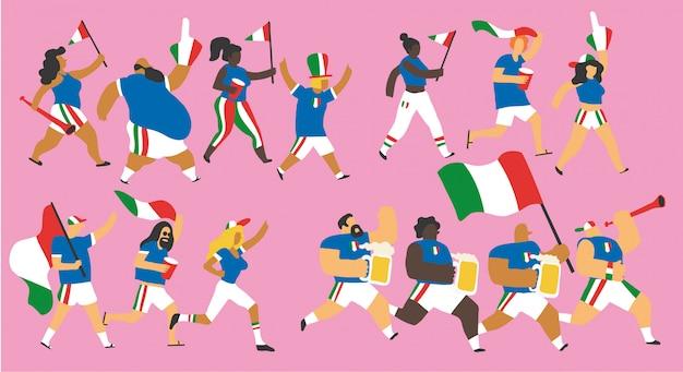 Italien-fußballfan-zeichensatz