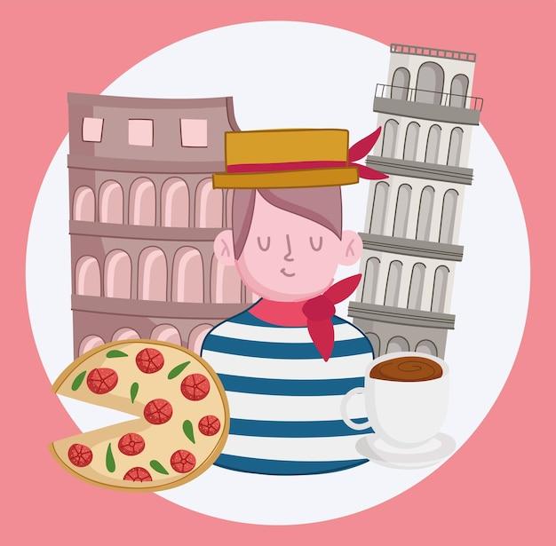 Italien gondoliere und kolosseum
